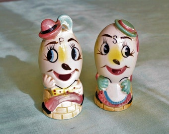 Enesco Mr. and Mrs. Humpty Dumpty Salt and Pepper Shakers