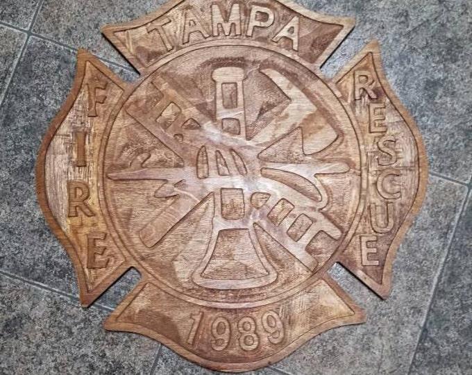 Customized Reclaimed Wood Fireman Plaque