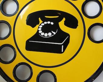 Vtg Metal Italian Public Telephone Sign, Telephone Sign, Industrial Sign, Utility Sign, Enamel Sign