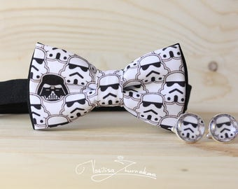 Set cufflinks + bow tie Bow tie - Bowtie Star Wars Bow tie - Bowtie star wars, Stormtrooper Bow tie , Darth Vader Bow tie