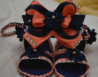 Newborn Navy blue and Coral baby shoes with matching headband