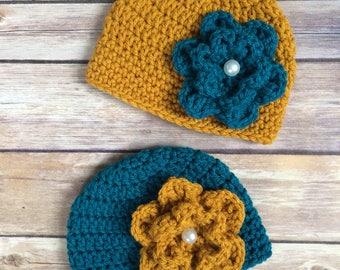NewbornTwin Girl Crochet Hats - Twin hats - Twin beanies - 0 to 3 months - Vintage Hats - Crochet Flower - Teal - Gold - Pearl button
