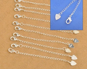 Solid 925 Sterling Silver Chain Extension with Heart Tag Lobster Clasp for Necklace  Bracelet. (1pc)