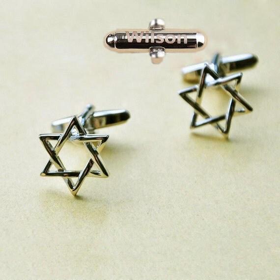 Custom Engraved cufflinks,Judaicajewelry,JewishCuffLinks,Star WEDDINGCufflinks,PentacleCufflink,HanukkahYomKippur,BarMitzvah