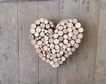 Love Heart Wall Sculpture Handmade from Reclaimed-Recycled Australian Gumtree Wood Disc