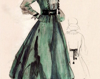 fashion illustration, Vintage Fashion Illustration Prints