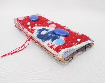 Recycled Journal with a Quilted Fabric Cover Containing a Mixture of Paper -Handmade Journal, Junk Journal, Smash Book, Fabric Journal