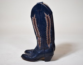 """Authentic vintage 1970's panhandle slim cowboy western navy blue leather embroidered tall boots women's size 6/6.5 with 2 """" heel"""