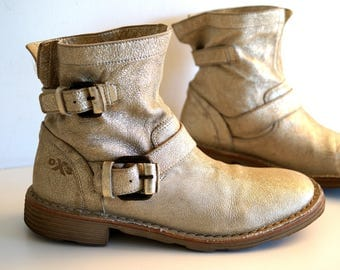 Vintage Ankle boots by OXS Made in Italy Golden color womens booties Genuine leather boots eur size 39 Soft Leather inside and outside