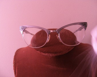 Silver Vintage Cateye Eye Glasses Bifocals Aluminum 5 1/4 Retro Eyewear Optical