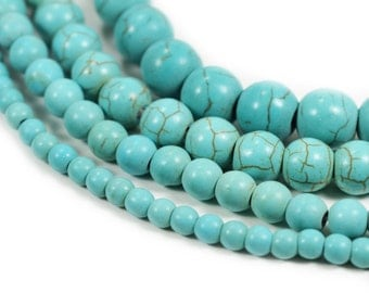 "Turquoise Howlite Stone Beads 4mm 6mm 8mm 10mm, 15.5"" Full Strand, Wholesale"
