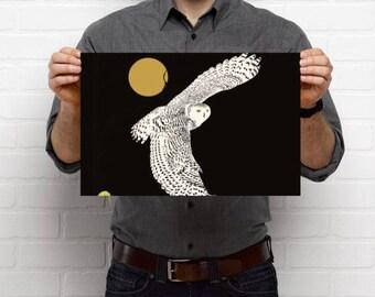 Poster, digital art print of a snowy owl on high quality paper, art print of white owl, snowy owl art print , poster of snowy owl