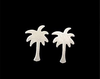 Tiny Palm Tree Earrings - Silver