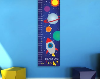 Personalized Outer Space Growth Chart, Planets, Rocket Ship, Growth Chart, Kid's Room, Nursery Wall Art, Canvas or Poster, Children Bedroom