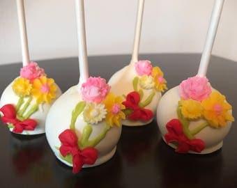 Flower Cake Pops-Chocolate-Vanilla-Funfetti-Vanilla with Chocolate Chip-Party-Shower-Birthday