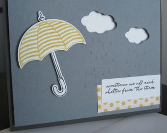 Sometimes We All Need Shelter From the Storm: Umbrella, Supportive Card, Stampin Up, Handmade