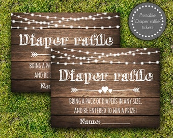Rustic diaper raffle tickets, Baby shower diaper raffle cards, Baby shower games, Bring a pack of diapers, girl boy neutral