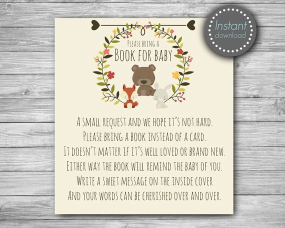 Delightful Woodland Baby Shower Bring A Book Instead Of A Card, Baby Shower Book  Request, Book Request Card, Bring A Book Card, Book Request Insert