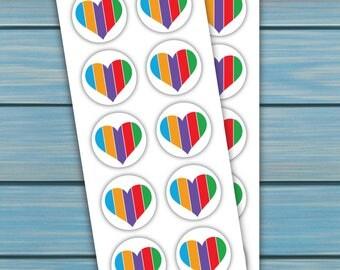 Stickers - Multicolor Heart Circles