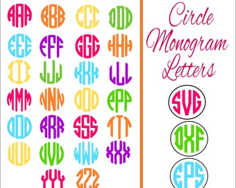 Circle Monogram Alphabet Letters, SVG Circle Monogram Cut files, 3 Letter Monogram, Circle Monogram SVG, Use with Cricut & Silhouette