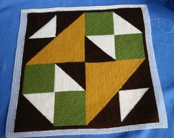 Mid Century Abstract Needlepoint Pillow Front