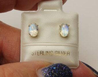 Moonstone Post Earrings, Natural Gem Sterling Silver Earrings, Stud Earrings, Oval Faceted Moonstone