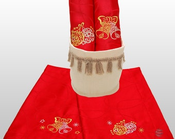 Luxury Embroidered Christmas Red Table Placemats with Linen Basket - Ref. Lines - Pack of 2 Units