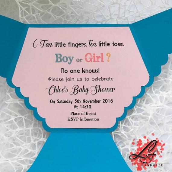 Set of 10 Baby Shower Nappy/ Diaper Invitation, Christening ...