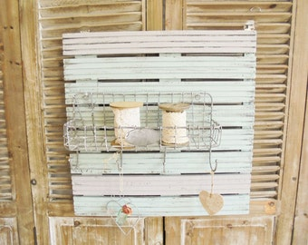 Zinc basket Shabby Chic wall shelf