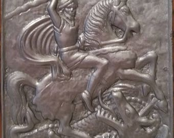Saint George Slaying the Dragon, pewter plaque on wood