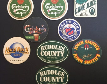Vintage Pub Beer and Ale Coasters - Group of 9 - Carlsberg, Hardrock Cafe, Ruddles County and More