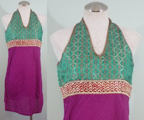 SALE! / Pink, Emerald Green, and Gold Indian Tunic / 1990s Cotton Brocade Dress / Sleeveless Caftan / Modern Size Extra Small or Small
