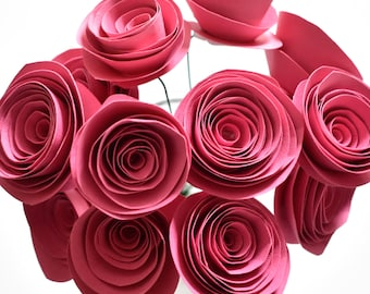 Pink Paper Flower Bouquet - Stemmed Roses - Flowers for Weddings, Showers, Birthdays