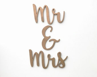 Mr & Mrs Wedding Decor / Wood Sign / Wood Chair Sign / Reception Decor / Wedding Decor / Handwritten Cursive Cutout
