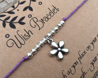 Flower Wish Bracelet, Make a wish Bracelet, Flower Bracelet, Wish Bracelet, Friendship Bracelet, Gift for Her, Flower Jewelery, Small Gift