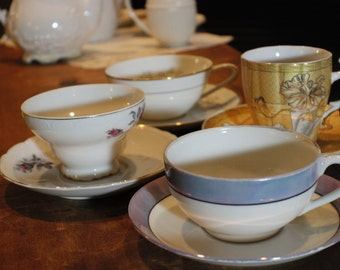 Tea Party Set of Coordinating Cups and Saucers -005