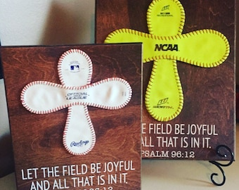 Baseball Cross Wall Art,Softball Cross, BaseBall Cross With Team Name, SoftBall Cross With Team Name, Psalm 96:12, baseball scripture, Verse