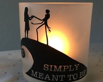 Personalized Jack and Sally Candle Holder from the Nightmare Before Christmas