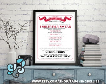 Veterinarian's Oath - Personalized Poster - Medical Gift