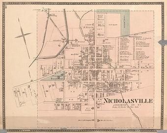 1877 Map of Nicholasville Jessamine County Kentucky