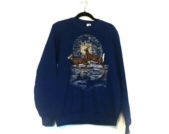 Vintage 1990 soft thin country wildlife deer full moon sweatshirt