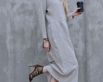 Dress, linen, loose dress, natural color, eco, friendly, long dress, with pockets, long sleeve