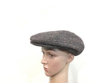 vintage 100% wool newsboy cap hat made in usa size 7 1/4
