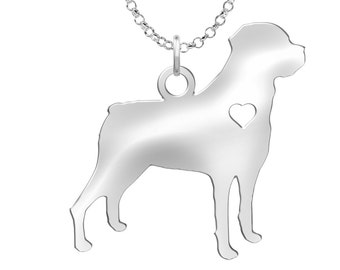 Rottweiler Necklace   Solid Sterling Silver   Rottweiler Silhouette Charm   Personalized Dog Jewelry   Dog Pendant