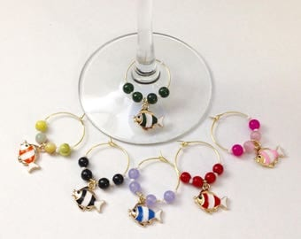 6 gold fish wineglass markers
