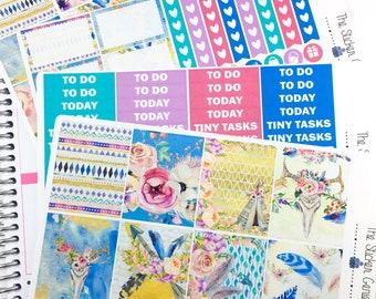 Brave Boho Weekly Kit | Planner Stickers, Weekly Kit, Spring Weekly Kit, aztec weekly kit, floral Weekly Kit, flower weekly kit