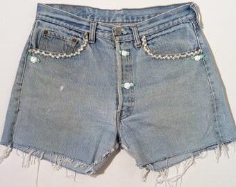 Vintage Levi's, 501, original 1980's, 32US, Levi's cut offs, Levi's denim shorts, Levi's flower detail  #127