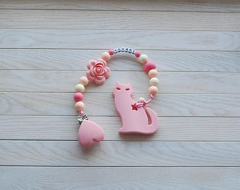 Baby Girl Pacifier Clip, BPA Free, Personalized Clip Holder, Chew Toy, Silicone Paci Clip, Soother Clip, Binky Leash, Paci Clip