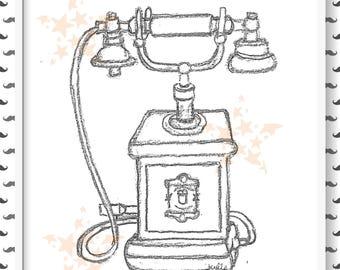 Antique Telephone Print