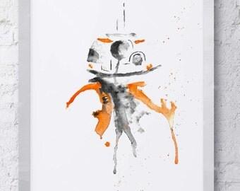 BB-8 Star Wars Watercolor Print
